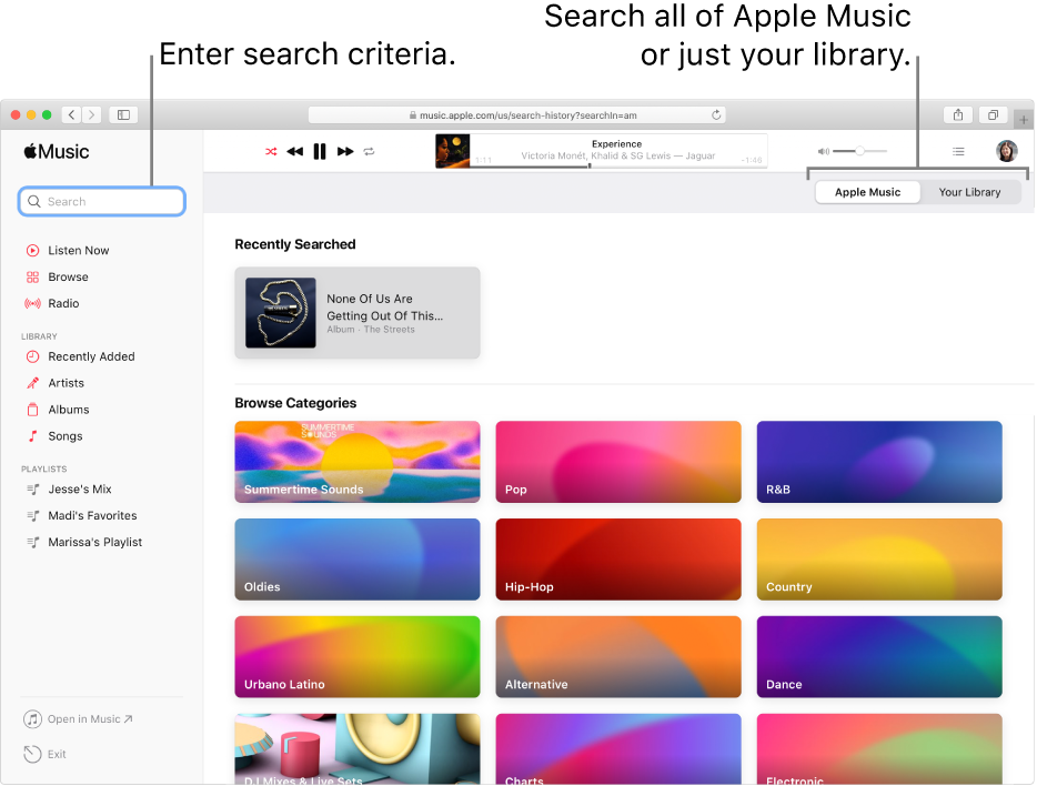 The Apple Music window showing the search field in the top-left corner, the list of categories in the center of the window, and Apple Music or Your Library available in the top-right corner. Enter search criteria in the search field, then choose to search all of Apple Music or just your library.
