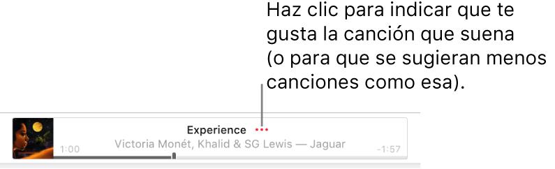La parte superior de AppleMusic con una canción en reproducción. Haz clic en el botón Más que aparece junto al título de la canción para indicar que te gusta la canción que se está reproduciendo o para que sugiera menos como esta.