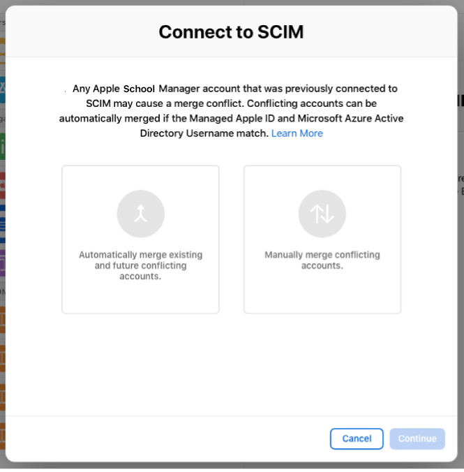 "The Apple School Manager ""Connect to SCIM"" window showing the two options for merging accounts."