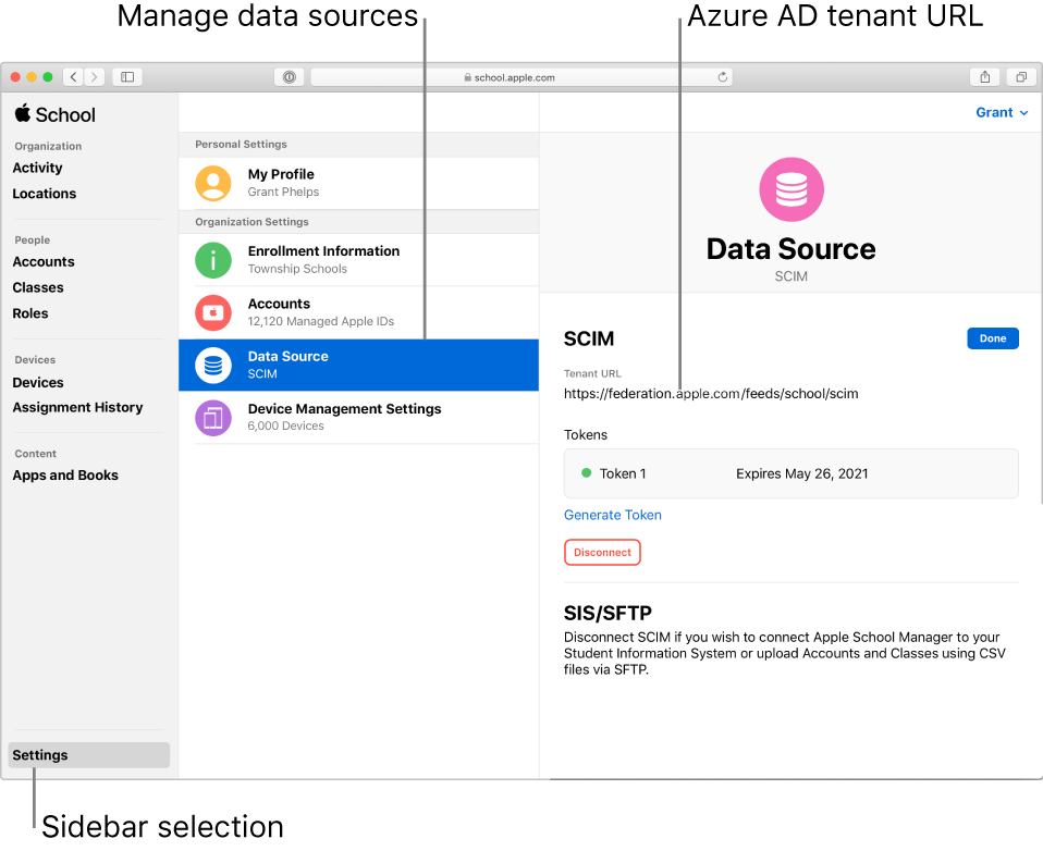 The Apple School Manager window, with Settings selected in the sidebar. The Data Source pane shows an active SCIM connection.