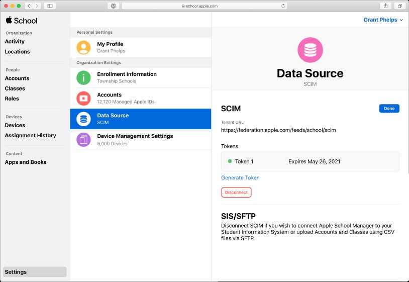 Obrazovka zdrojů dat vApple School Manageru se zobrazeným SCIM připojením.