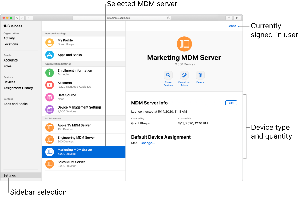The Apple Business Manager window, with Settings selected in the sidebar. A selected server opens to information about that server.