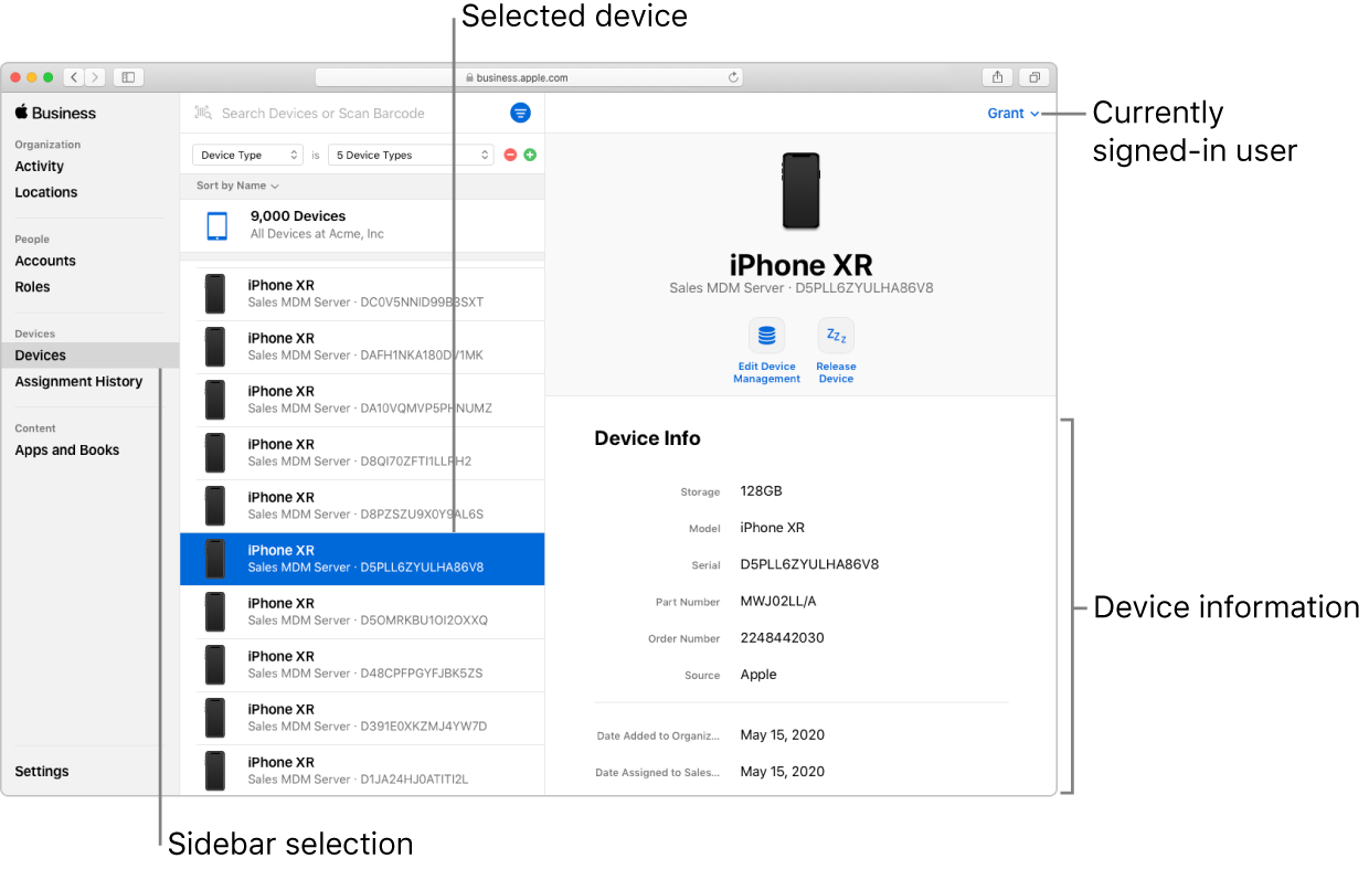 The Apple Business Manager window, with Devices selected in the sidebar. A selected device opens to information about that device.