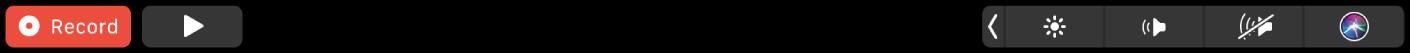 الـTouchBar الخاص بتطبيق TV ويظهر عليه أزرار للإرجاع، والتشغيل/الإيقاف المؤقت، والتقديم السريع، وExtras، والترجمة المصاحبة، والقائمة، وشريط تقديم للتنقل.