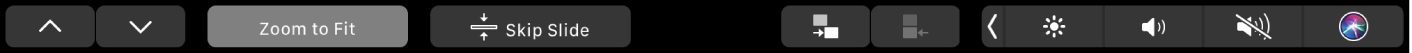 TouchBar vKeynote stlačítky se šipkami, tlačítkem Velikost podle okna atlačítky pro přeskočení, odsazení apředsazení snímku