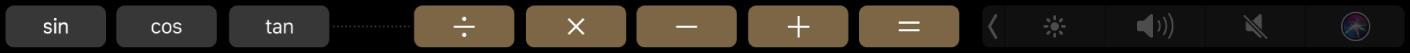 TouchBar Kalkulačky po úpravě – zobrazují se přidané funkce