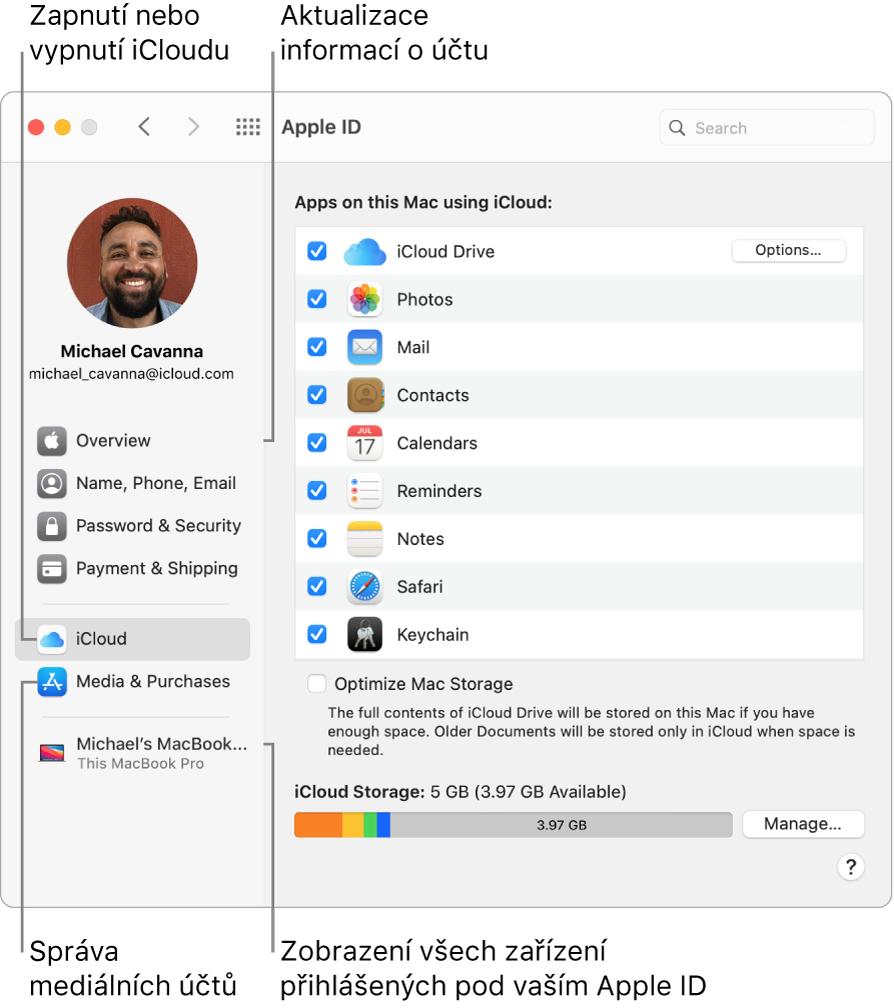 Panel AppleID vPředvolbách systému. Po kliknutí na různé položky na bočním panelu můžete aktualizovat údaje osvém účtu, zapnout nebo vypnout iCloud, spravovat mediální účty nebo zobrazit všechna zařízení přihlášená pod vaším AppleID.