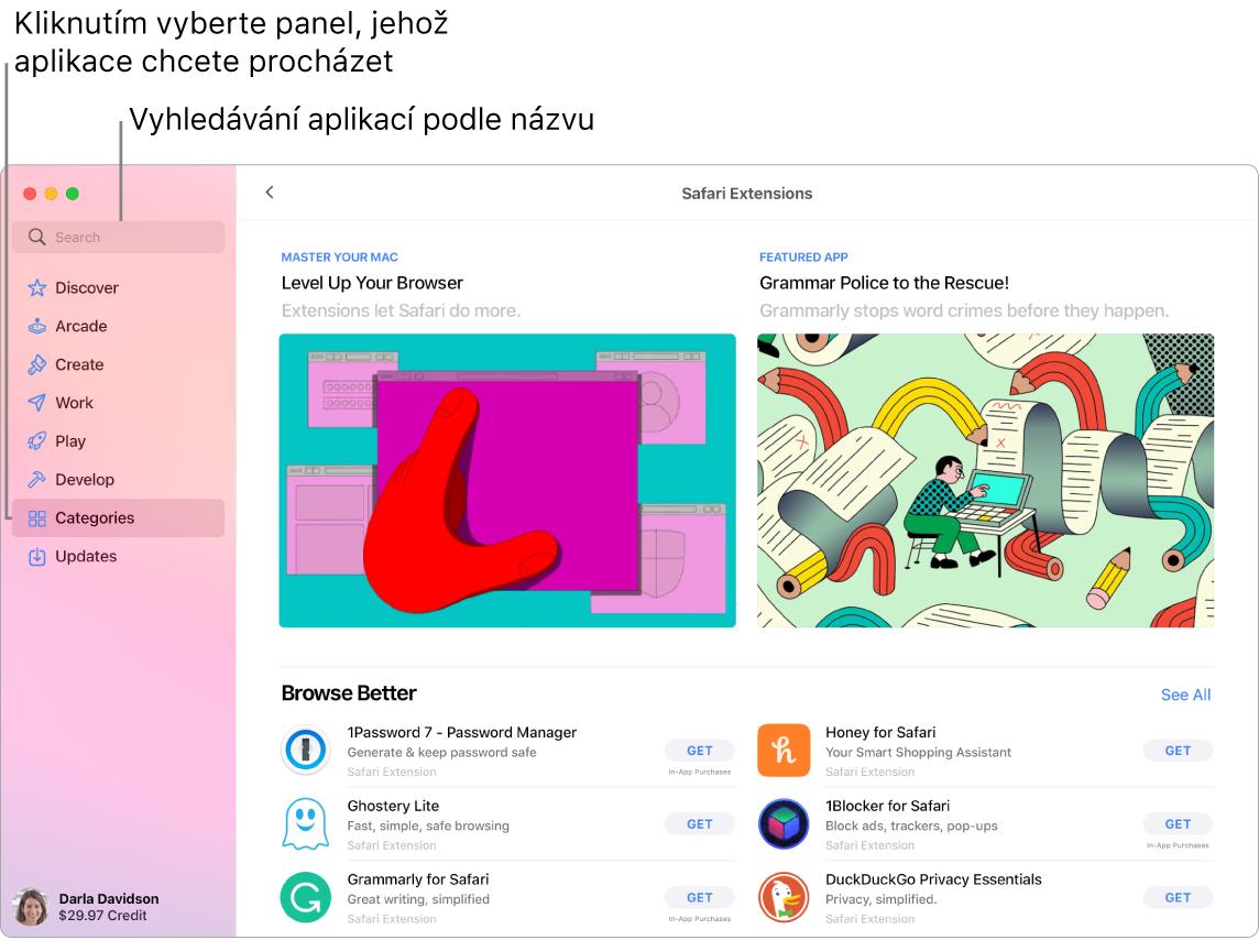 Okno AppStoru svyhledávacím polem astránkou rozšíření Safari