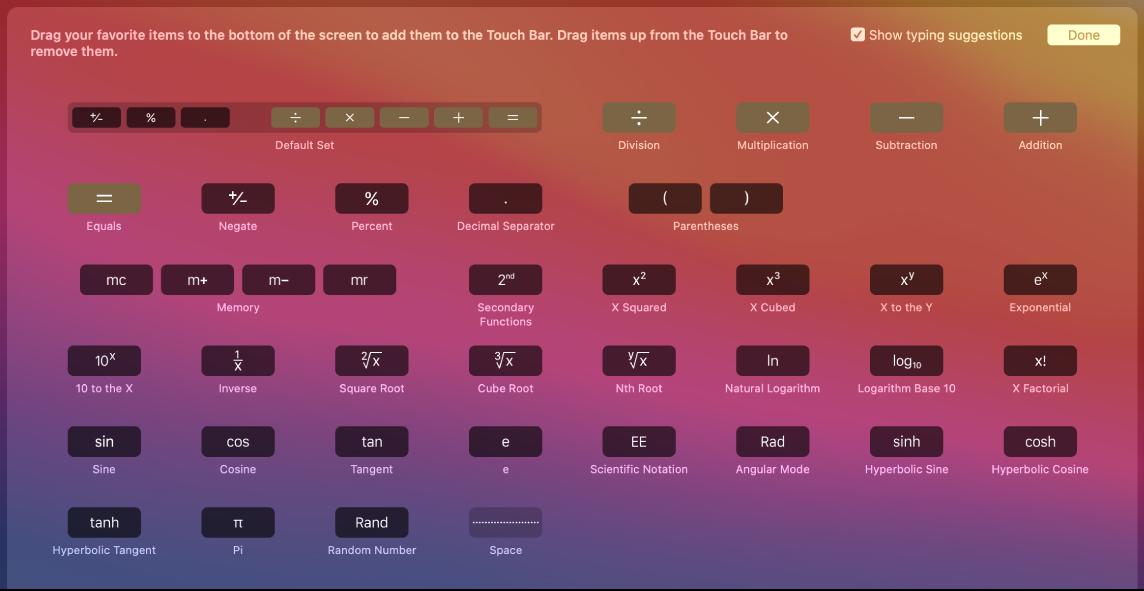 Položky na TouchBaru Kalkulačky, které můžete přizpůsobit přetažením na TouchBar
