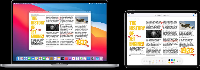 MacBookPro aiPad vedle sebe. Na obou displejích je vidět článek sčerveně vepsanými ručními korekturami, například přeškrtnutými větami, šipkami avloženými slovy. Udolního okraje obrazovky iPadu se zobrazují také ovládací prvky pro anotace.