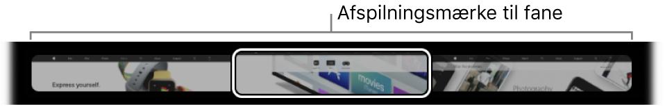 Afspilningsmærket til fane på TouchBar tilSafari. Afspilningsmærket viser et lille eksempel fra hver fane, som er åben.