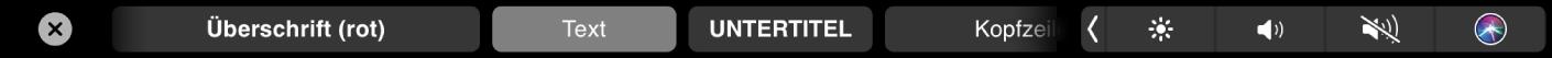 Die Pages-TouchBar mit Absatzformatierungsstilen einschließlich Titel, Überschrift und Untertitel.