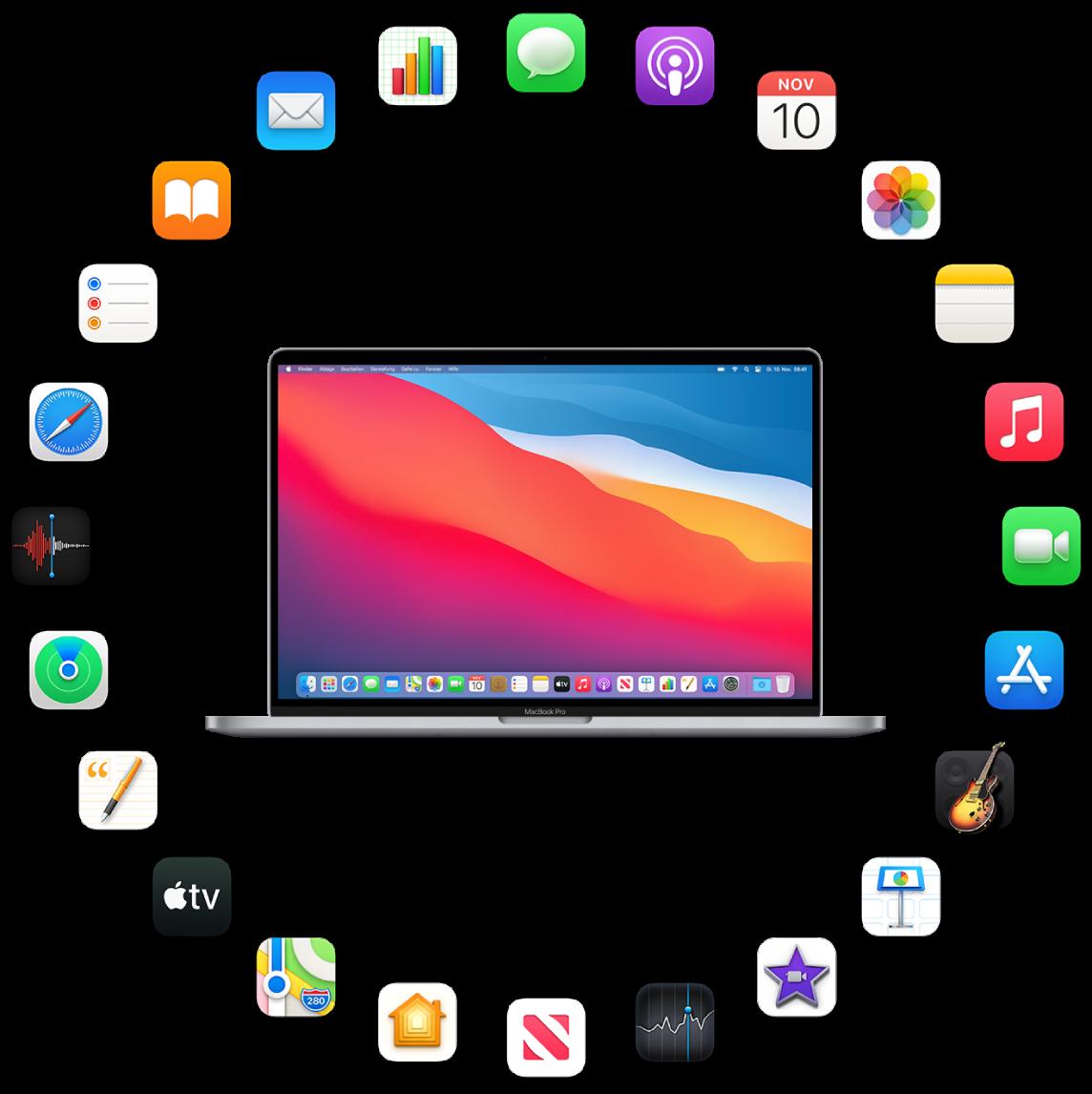 Ein MacBook Pro umgeben von Symbolen der Apps, die im Lieferumfang enthalten sind und in den folgenden Abschnitten beschrieben werden