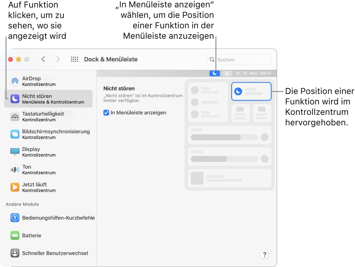 """Das Fenster der Systemeinstellung """"Dock & Menüleiste""""."""