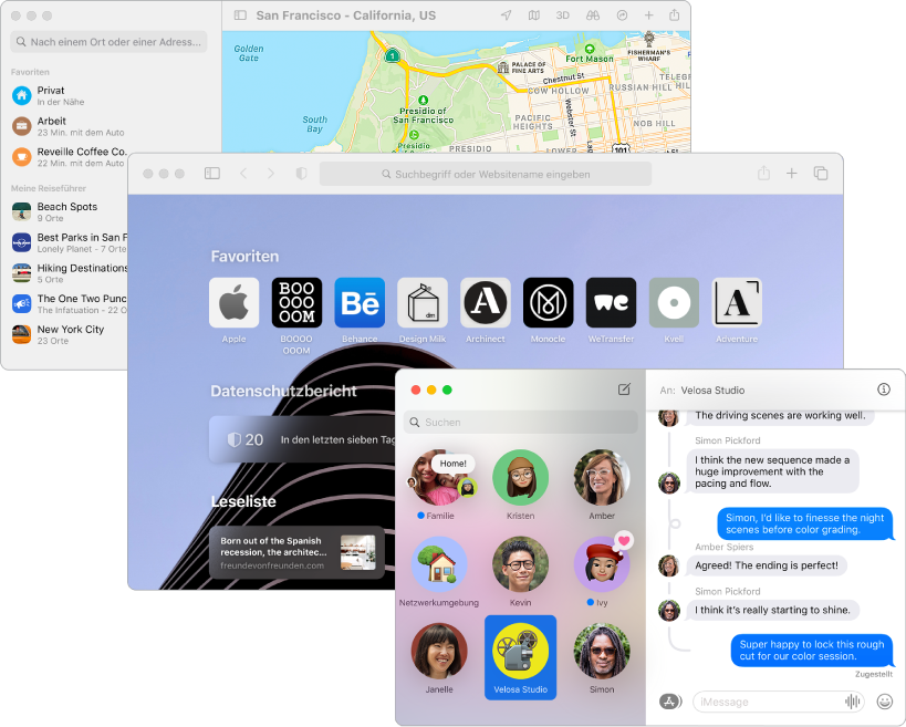 """Sich überlappende Bildschirme der Apps """"Karten"""", """"Safari"""" und """"Nachrichten""""."""