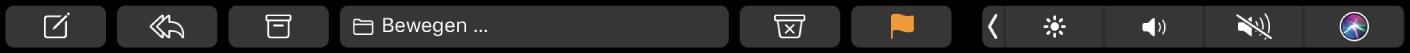 """Die Mail-TouchBar mit den Tasten """"Verfassen"""", """"Antworten"""", """"Archivieren"""", """"Bewegen"""", """"Spam"""" und """"Markieren"""""""