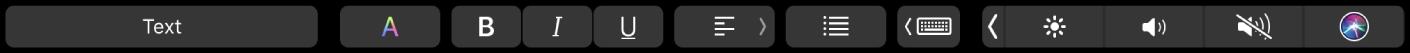 """Die Pages-TouchBar mit Tasten zum Ändern von Absatzstil, Textfarbe, Textformatierung und Textausrichtung. Außerdem befindet sich die Taste """"Schreibvorschläge"""" in der Touch Bar."""