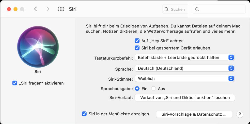 """Das Fenster der Systemeinstellung """"Siri"""" mit ausgewählter Option """"""""Siri fragen"""" aktivieren"""" links und mehreren Optionen zum Anpassen von Siri rechts, u. a. """"Auf """"Hey Siri""""achten""""."""