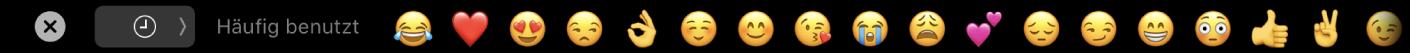 Die Nachrichten-TouchBar mit der Option zum Anzeigen häufig verwendeter Emojis sowie der Taste zum Auswählen verschiedener Emoji-Kategorien.
