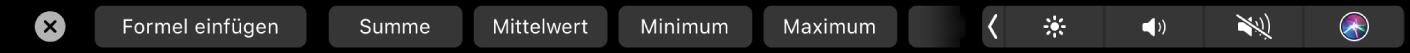 """Die Numbers-TouchBar mit angezeigten Tasten für Formeln Dazu gehören """"Summe"""", """"Durchschnitt"""", """"Minimum"""", """"Maximum"""" und """"Anzahl""""."""