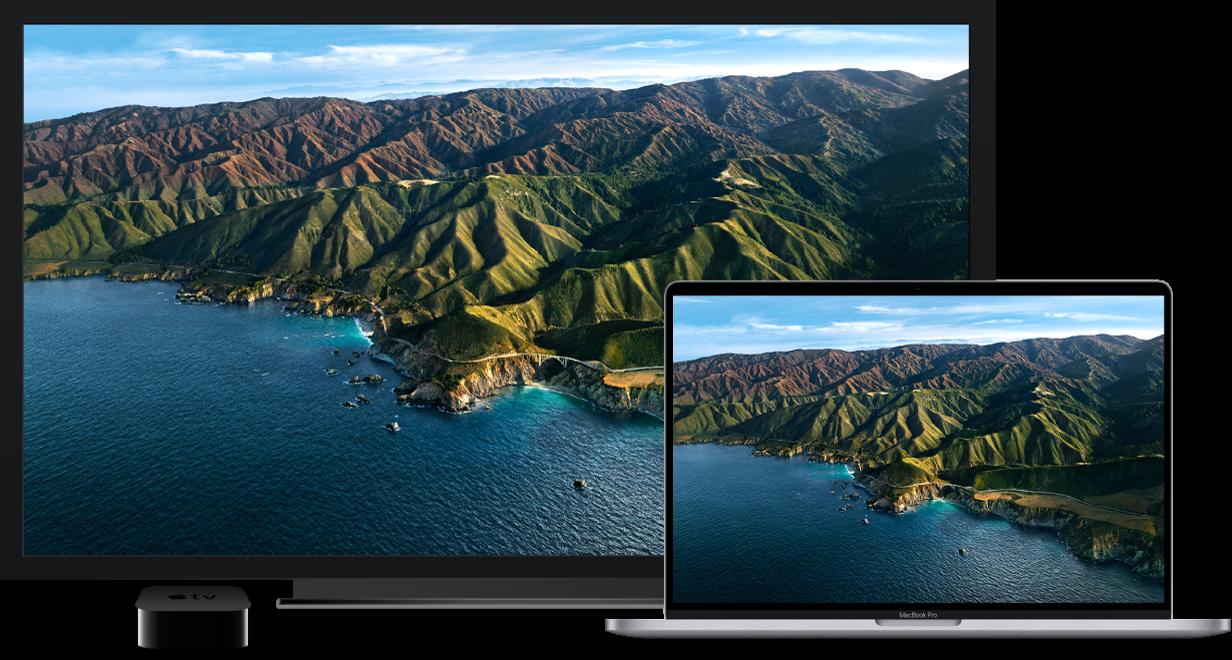 Ein MacBook Pro, dessen Inhalt auf einem großen HDTV-Gerät über ein AppleTV gespiegelt wird