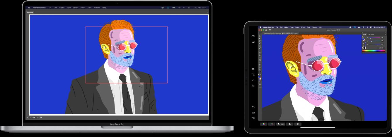 Ein MacBookPro und ein iPad nebeneinander. Auf dem MacBook Pro sind Bilder im Navigatorfenster von Illustrator zu sehen Auf dem iPad sind dieselben Bilder im Dokumentfenster von Illustrator umgeben von Symbolleisten zu sehen.