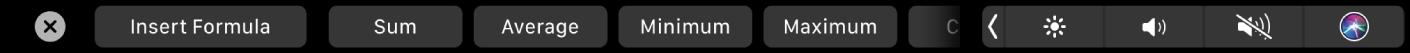 Το TouchBar για το Numbers όπου εμφανίζονται κουμπιά «Τύπος». Σε αυτά περιλαμβάνονται οι τύποι το άθροισμα, τον μέσο όρο, το ελάχιστο, το μέγιστο και το πλήθος.