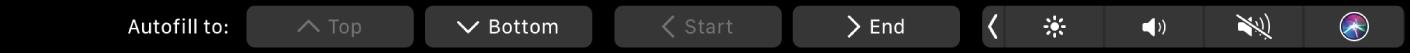 Το TouchBar για το Numbers όπου εμφανίζονται κουμπιά «Αυτοσυμπλήρωση». Σε αυτά περιλαμβάνονται πάνω, κάτω, έναρξη και τέλος.
