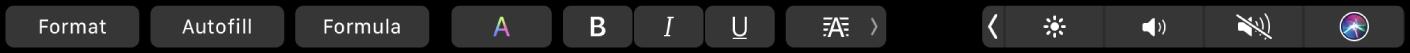 Το TouchBar για το Numbers με κουμπιά για «Μορφή», «Αυτοσυμπλήρωση» και «Τύπος». Υπάρχουν επίσης κουμπιά μορφοποίησης κειμένου για χρώμα, έντονη γραφή, πλάγια γραφή, υπογράμμιση και στοίχιση.