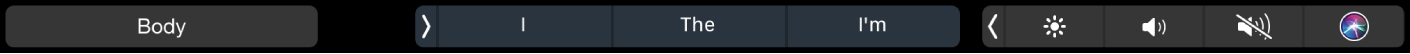 The Pages TouchBar displaying the paragraph styles button and typing suggestions.