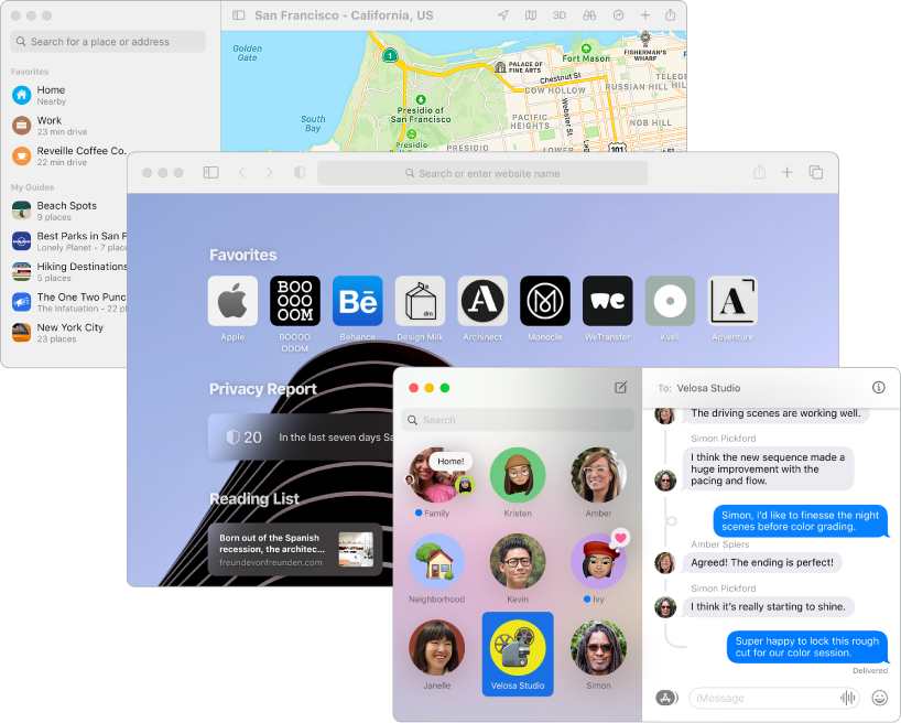 Overlapping screens of the Maps, Safari, and Messages apps.