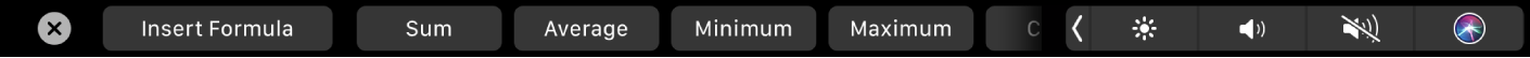 The Numbers Touch Bar displaying the Formula buttons. These include sum, average, minimum, maximum, and count.
