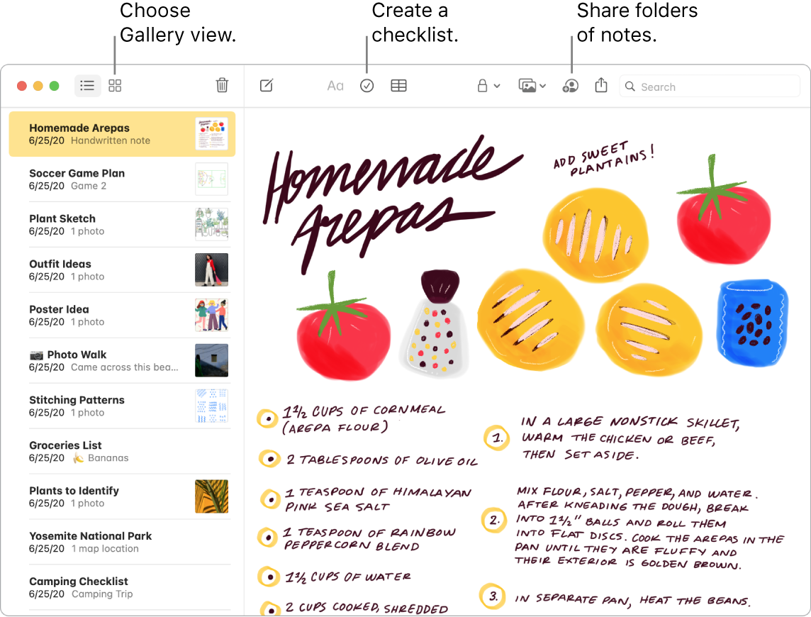 A Notes window in Gallery view with callouts to the Gallery View, Checklist, and Share Folder buttons.