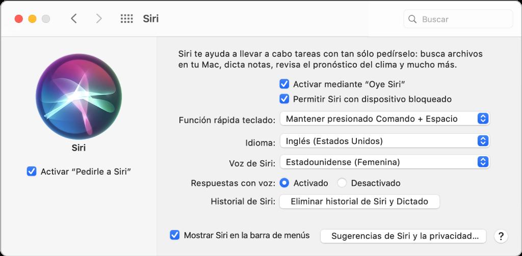 """La ventana del panel de preferencias Siri con la opción para activar """"Pedirle a Siri"""" seleccionada en la izquierda, y varias opciones para personalizar a Siri en la derecha, incluida la opción """"Al escuchar 'Oye Siri'""""."""