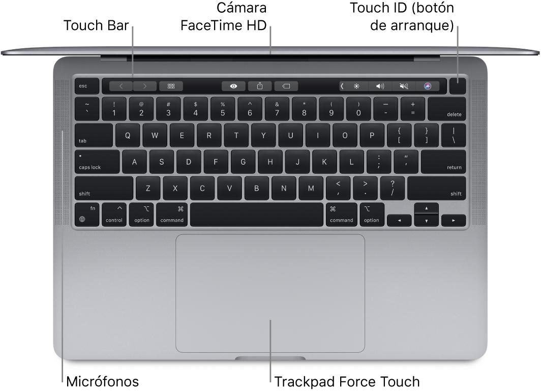 Vista superior de un MacBookPro con chip AppleM1 abierto, con la TouchBar, la cámara FaceTime HD, TouchID (botón de encendido) y el trackpad ForceTouch.