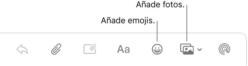 Una ventana de un mensaje nuevo en la que se muestran los botones de fotos y emojis.
