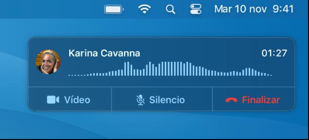 Parte de una pantalla de Mac que muestra la ventana de notificación de llamadas.