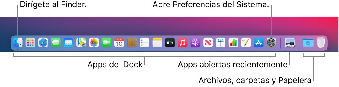 El Dock con el Finder, Preferencias del Sistema y la línea divisoria del Dock que separa las apps de los archivos y carpetas.