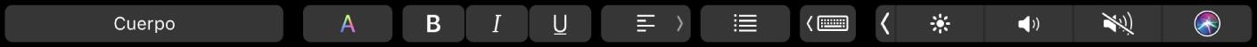 La TouchBar de Pages con botones para cambiar los estilos de párrafo, el color del texto, el formato del texto y la alineación del texto. También existe un botón de sugerencias de escritura.