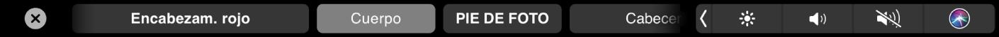 La TouchBar de Pages con los estilos de formato de párrafo que incluyen el título, el encabezamiento y la leyenda.