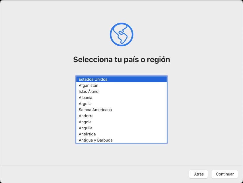 Una pantalla del Mac con la pantalla de bienvenida del asistente de configuración.