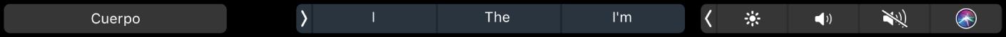 La TouchBar de Pages con el botón de estilos de párrafo y las sugerencias de escritura.
