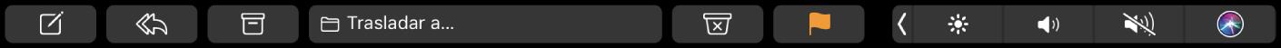 La TouchBar de Mail, con botones para redactar, responder, archivar, desplazar, correo no deseado y etiquetar.