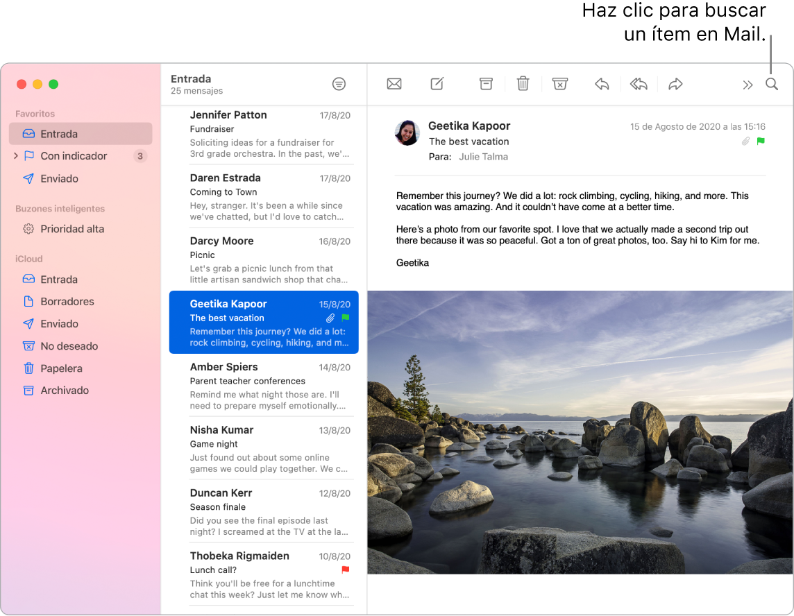 Una ventana de Mail que muestra la barra lateral con iconos de colores, la lista de mensajes y el contenido del mensaje seleccionado.