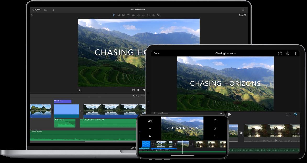 Identtinen sisältö näkyvissä MacBook Prossa, iPadissa ja iPhonessa.