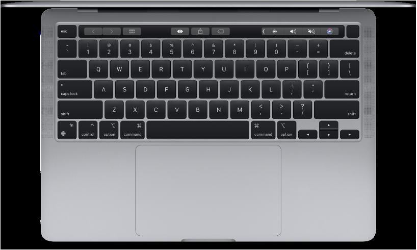 Vue supérieure d'un MacBookPro 13pouces.