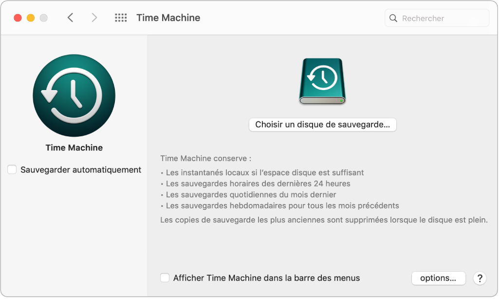 La fenêtre de sauvegarde TimeMachine.