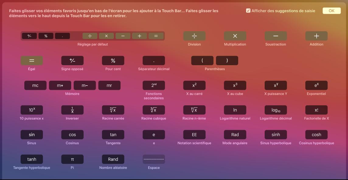 Éléments dans la TouchBar pour la calculette que vous pouvez personnaliser en les faisant glisser dans la TouchBar.