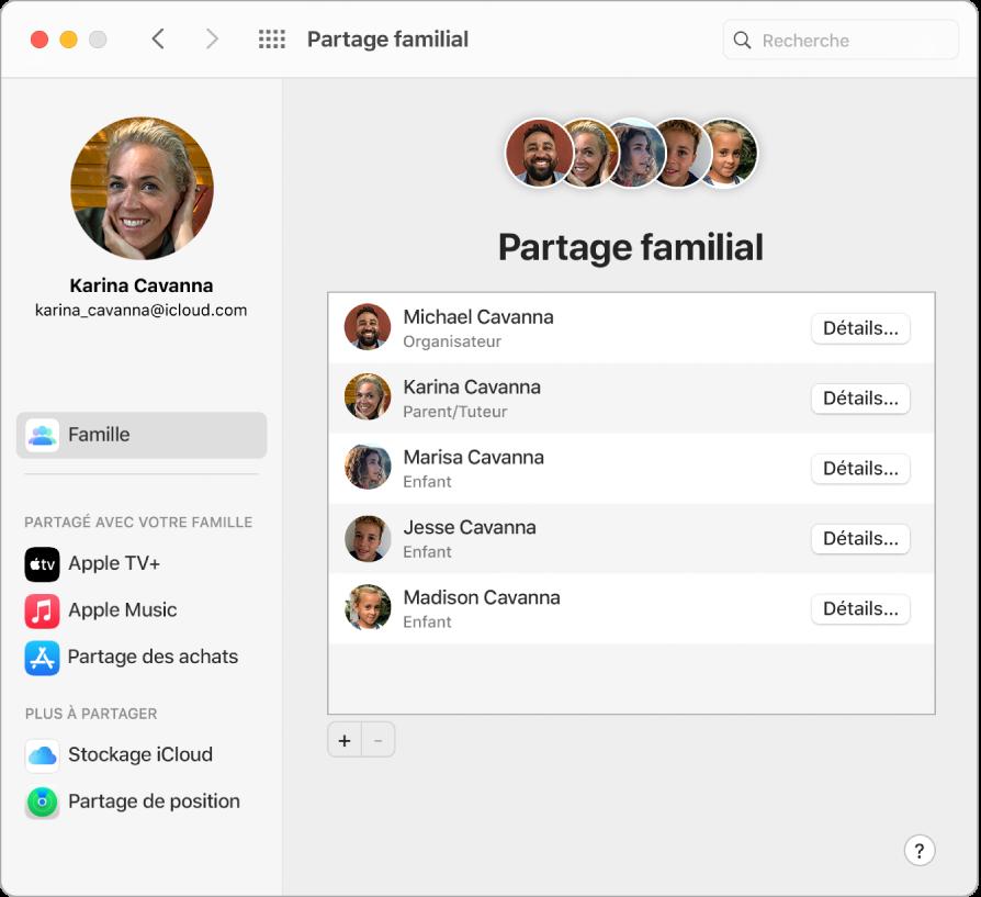 Fenêtre Safari présentant les réglages «Partage familial» sur iCloud.com.