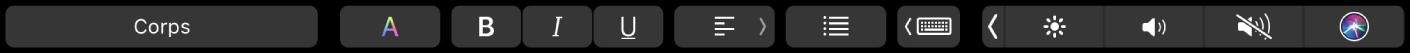 TouchBar dePages affichant des boutons permettant de modifier les styles de paragraphe, ainsi que la couleur, la mise en forme et l'alignement du texte. Il existe également un bouton correspondant aux suggestions.